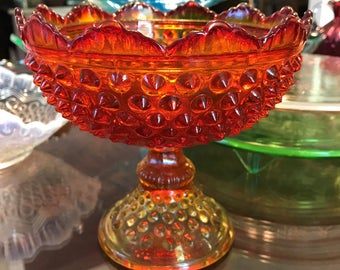 Vintage Hobnail Orange Footed Candy Dish Colonial Orange by Fenton