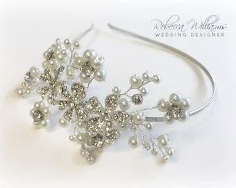 Floral Diamante and Pearl Tiara, Bridal Side Tiara, Pearl Tiara