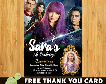 Disney Descendants Invitation- free thank you card