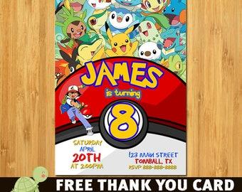 Pokemon Invitation, Pokemon Birthday, Pokemon Party, Pokemon Card, Pokemon, Pokemon Invites, Free Thank You card