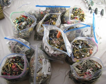 5 Lbs Pounds Unsorted Costume Jewelry lot for Crafts, Wear, Harvest Parts, Flea Market.