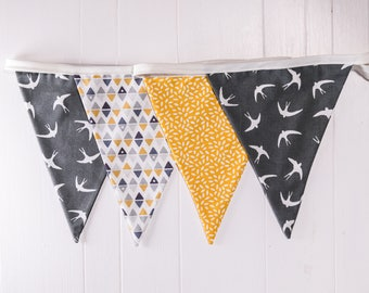 Handmade Grey swallows and geometric mustard bunting.  Grey theme celebration decoration or the perfect gift to style any room.