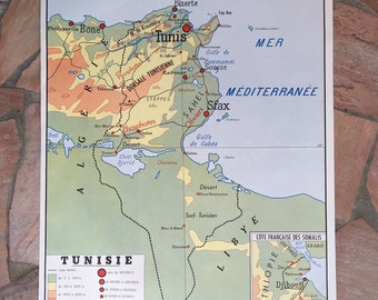 French vintage school poster map TUNISIA ALGERIA two sided ROSSIGNOL 0302182