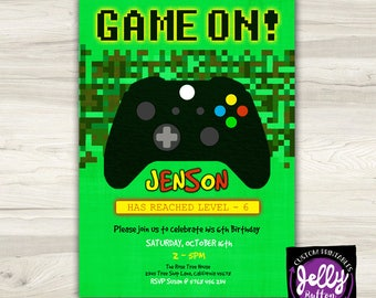 Gamer Invite, Gamer Invitation, Mine Craft style Game Invitation, Game Invite, Gamer Party, Gamer Birthday, Console Invite