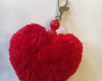 Heart Pom Pom Bag Charm