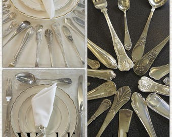 Mismatched flatware, flatware se, silverware set, flatware set, flatware service for 4 up to 300, wedding silverware, mix and match