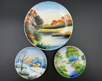 Vintage Hitomi Wall Plates ~ Set of 3 ~ Hand Painted ~ Signed Plates