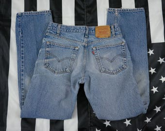 Vintage 90s Levi Strauss & Co 505 Regular Fit Straight Leg Jeans Size 33X34 Red Tab Broken In