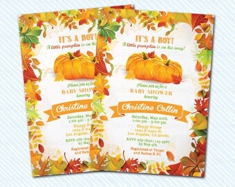 Digital Printable Pumpkin Baby Shower Invitation