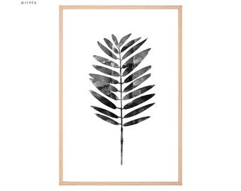 Leaf Print, Leaf Wall Art, Botanical Poster, Palm Room Decor, Modern Minimalist, Home Decor, Printable Palm, Black and White Art, Watercolor