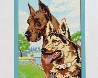 Vintage Paint by Number: Two Dogs in the Yard, Framed