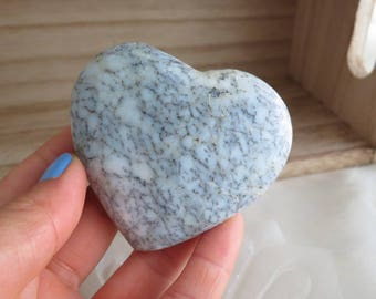 95g White Dendritic Polished Opal Heart Stone From Madagascar - ITEM #229 - 6.7 x 6.3 x 2cm