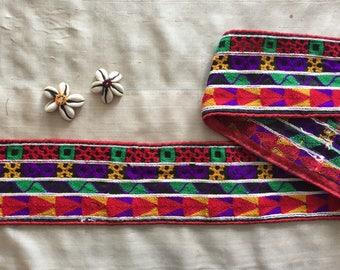 Black Red Multicolour Indian Embroidery Trim,Kutchi Navratri Trim,Boho Gypsy Tribal Rasta Lace,Indian Sari Border,8.5cm W Price/Mtr