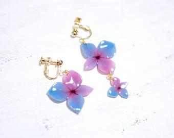 Blue-purple Hydrangea 14K Gold Filled Asymmetrical Earrings [Pierced or Clip on]