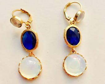 Hot Summer Sale Sapphire Moonstone 24kt Gold Plated Fashion Earrings