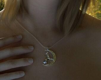Moon gazing hare pendant.