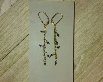 Gold Chain Dangle Earrings with Cobalt Blue Seed Beads