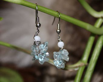 Gemstone Chip Earrings with Glass Beads