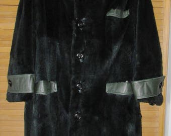 Vintage sheared green raccoon and leather trim designer international  jean françois morissette size 2xl chest 52