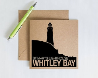 Handmade Retro Greeting Card, St Marys Lighthouse Whitley Bay, Geordie Novelty card, Kraft Recycled Card, Card for family and friends