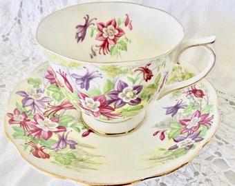 "Royal Albert ""Columbine"" Bone China Footed Teacup and Saucer Pink & Purple Flowers"