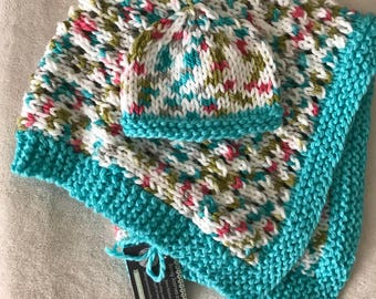 Baby stroller blanket with hat