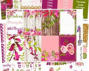 HAPPY PLANNER, Wild Flowers, Weekly Sticker Kit, HP Kit, Planner Stickers, Sticker Kit