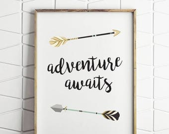 70% OFF SALE adventure awaits wall decor, adventure awaits printable, adventure awaits digital art, adventure awaits instant download