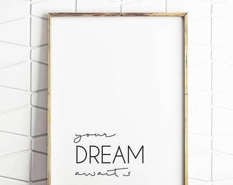 80% OFF motivational decor, motivational download, motivational quote, your dream awaits, inspiring quote, motivational saying