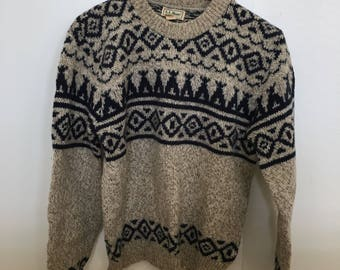 Vintage Fair Isle Wool Sweater Made in the USA