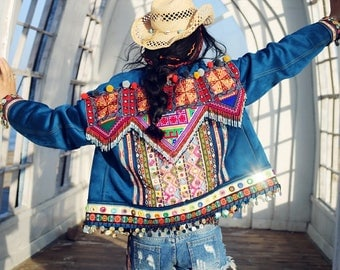 Embroidered Jacket Hippie Style Blue Sequin Velvet Jacket