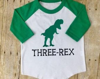 Three Rex Shirt - Three Year Old Shirt - Boy Birthday Shirt - Dinosaur Birthday Party - Dinosaur Baseball Tee - Custom Birthday Shirt