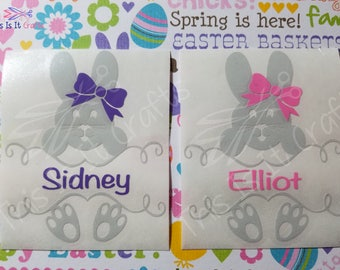 Easter Bunny Decal - Split Bunny Easter Decal - Easter Basket Decal - Monogram Decal - Car Decal - Water Bottle Decal - Vinyl Decal