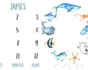 Milestone Fabric in Nautical Sea Creatures. Gender Neutral, Whales, Ocean, Boy, Sea, Newborn, Milestone Markers