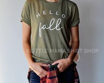Hello Fall | Pumpkin Shirt | Fall Shirt | Fall Shirts for Women | Unisex | Autumn Shirts | Women's Fall Shirt | Shirts for Fall