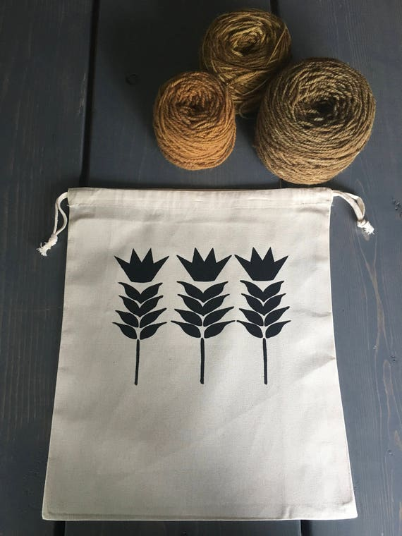 Hand Printed Cotton Drawstring Project Bag- Wheat Kings