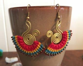 Gypsy earrings, Wax earrings, Made to order, Brass earrings