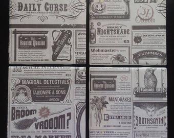 Handmade wizard/magic newspaper ceramic tile coasters