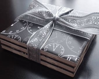 Black/White Clock handmade ceramic tile coasters