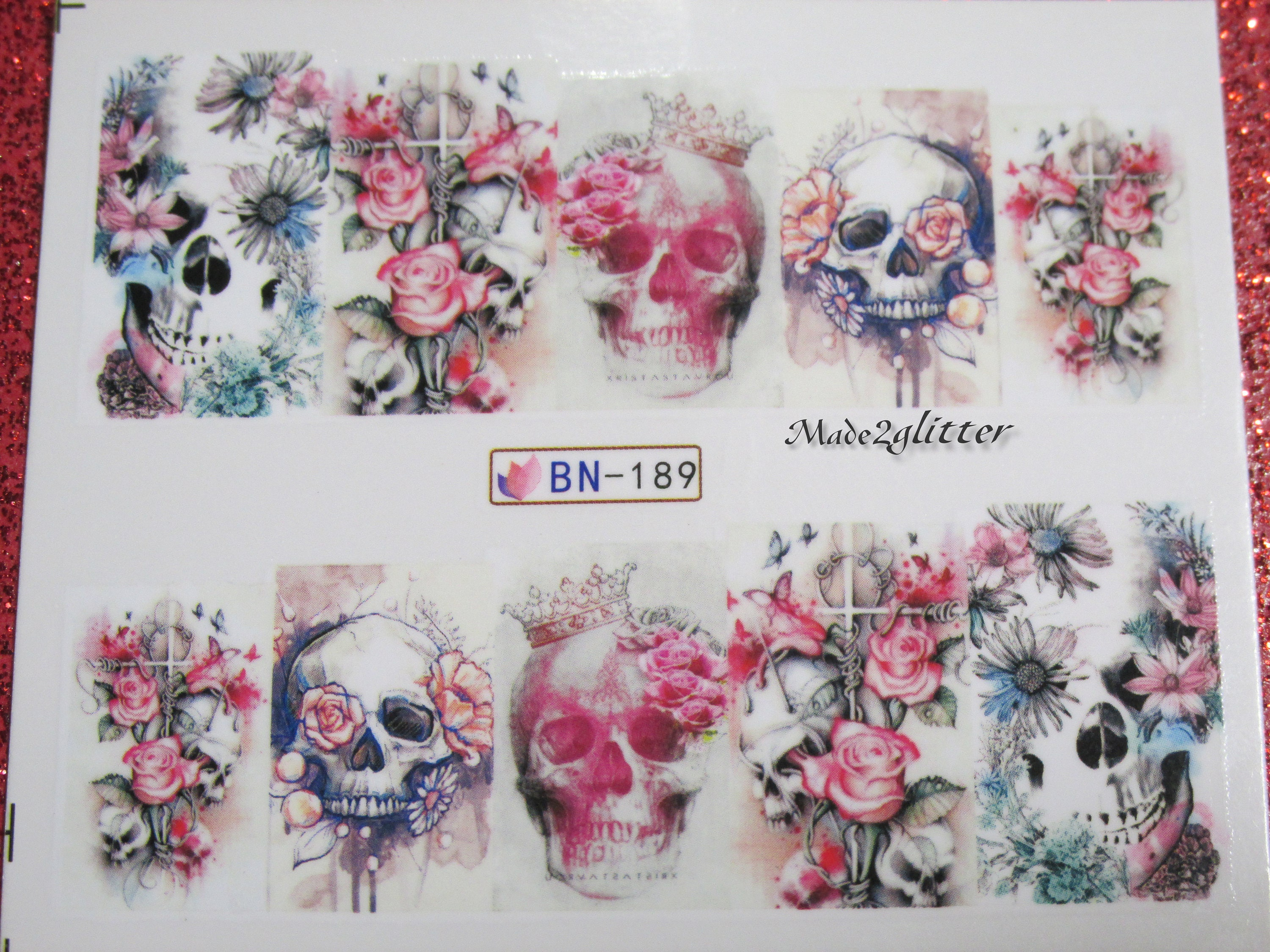 Halloween nail art ,Sugar Skull Nails,Day of the Dead Nail Stickers ...