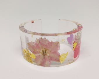 Pressed Flowers Resin Bangle Opened Bracelet
