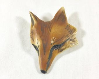 Vintage Carol Halmy Fox Brooch, Vintage Carol Halmy Fox Pin, Carol Halmy Porcelain Fox, Vintage Woodland Brooch, Vintage Animal Brooch