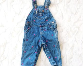 Oshkosh girls heart embroidered overalls