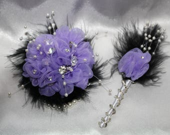 Elegant COMBO Bridesmaid Made of Honor Groom  Corsage and Boutonniere Brooch Rhinestone Feather Puff