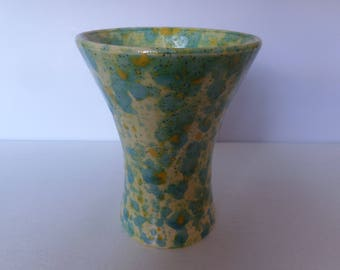 Yellow and Blue Glazed Ceramic Vase