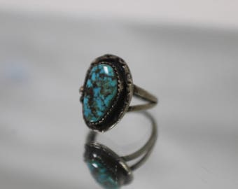 925 - Turquoise Southwestern Split Ring in Sterling Silver