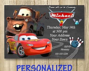 Disney Cars Invitation, Cars Birthday Party, Lightning McQueen Invitation, PERSONALIZED, Digital File