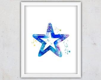 Music Wall Art Print, Boy Nursery Art, Printable Art Boy, Watercolor Art, Rock Star Print, Nursery Print, Instant Download, Digital Art Kids