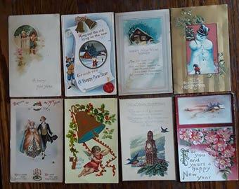 8 Great Antique New Years Greetings Postcards Snowman Elves Angel Bell Embossed Nice Victorian 1910s Vintage Ephemera Lot