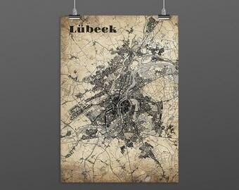 Lübeck DIN A4 / DIN A3 - print - turquoise